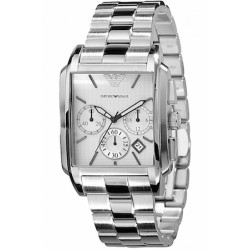 EMPORIO ARMANI WATCH Mod. CLASSIC CHRONO GENT S/S, SILVER DIAL, DATE, 37mm, WR 5ATM ***SPECIAL OFFER***